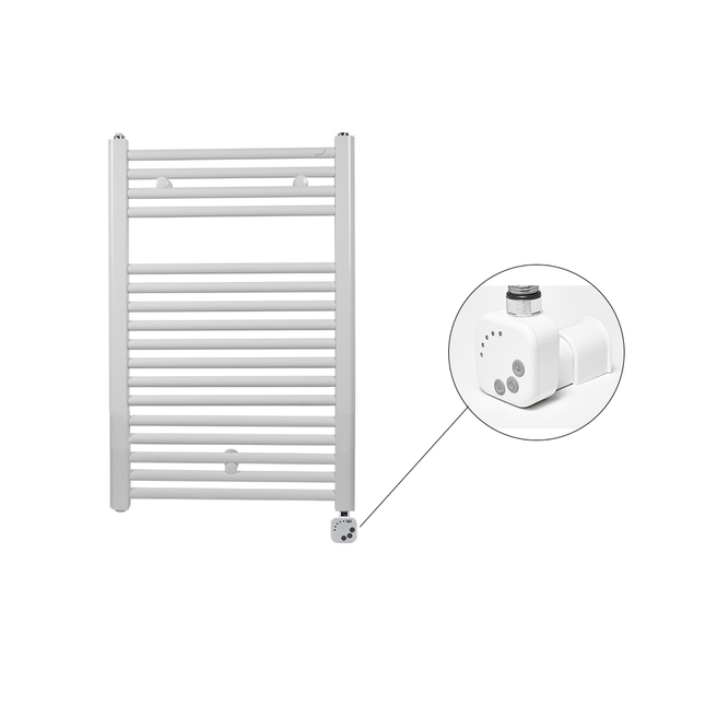 Электрический полотенцесушитель Zehnder Virando 500 x 786 мм белый с программируемым нагревателем HEС