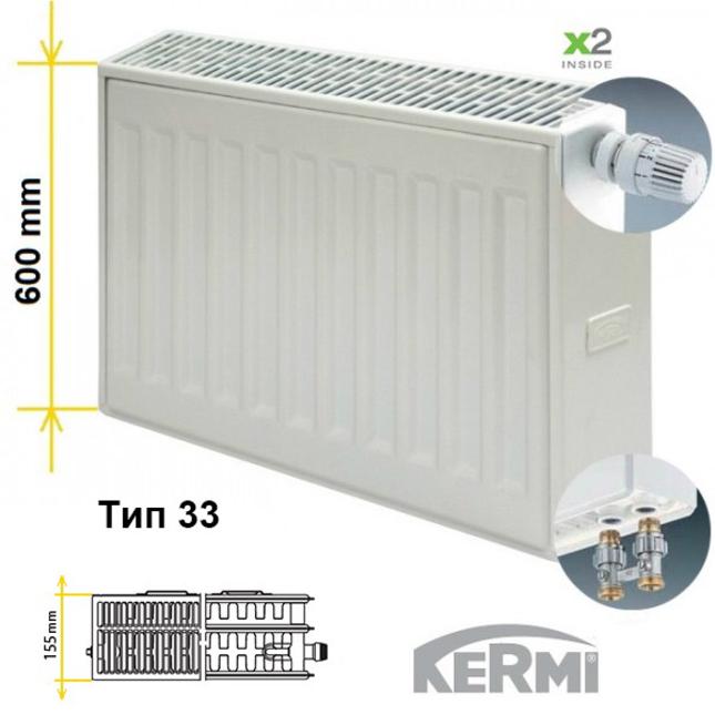 Стальной радиатор Kermi FTV 33 тип 600 с боковым подключением