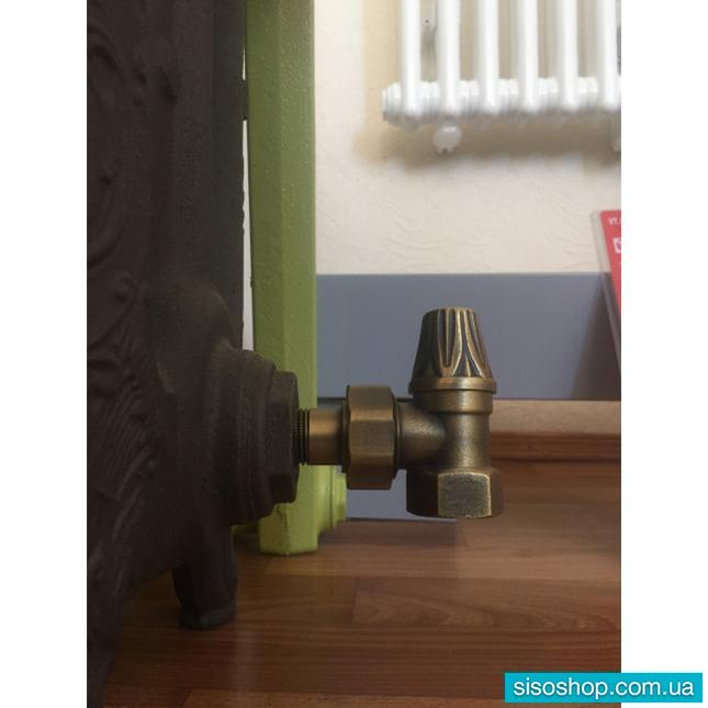 Кран радиаторный с деревянной ручкой прямой (верхний) RETROstyle