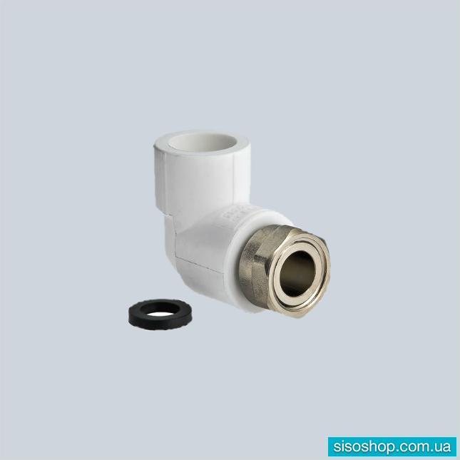 Фитинг полипропиленовый – угольник с накидной гайкой VALTEC VTp.758.0